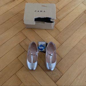 Gold Zara Ballet Flats